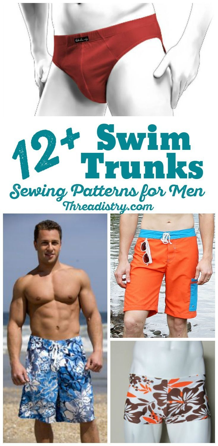 0dfc2433cf DIY Swim Trunks for men. From Speedo sewing patterns to board shorts and  Euro-style swim trunks, sew these swim trunks for the men in your life.