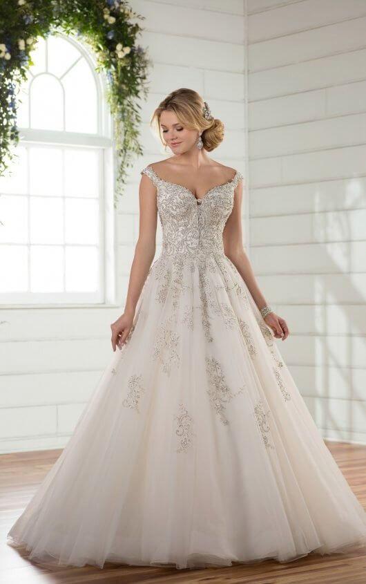 D2379 Off The Shoulder Princess Wedding Gown By Essense Of Australia