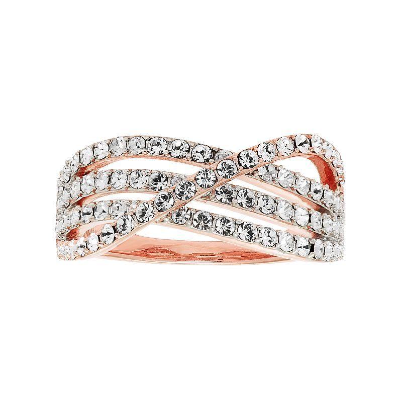 Diamond Essence 18k Rose Gold Plated Crystal Crisscross Ring, Women's, Size: 6, White
