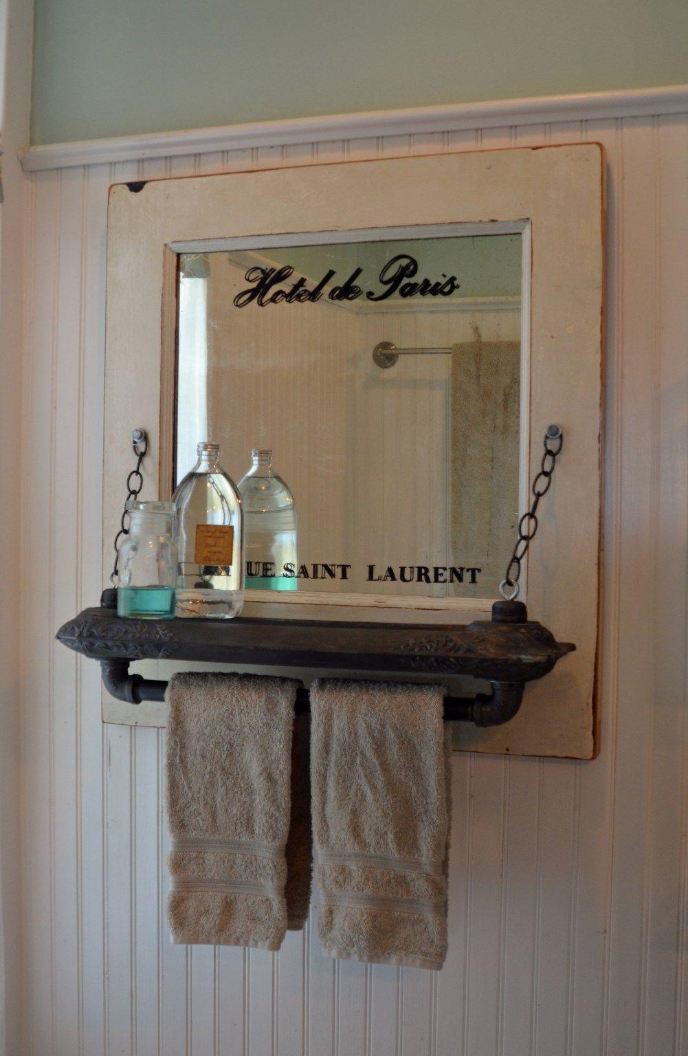 Mirrored towel rack with radiator shelf from second chance - Bathroom accessories towel racks ...
