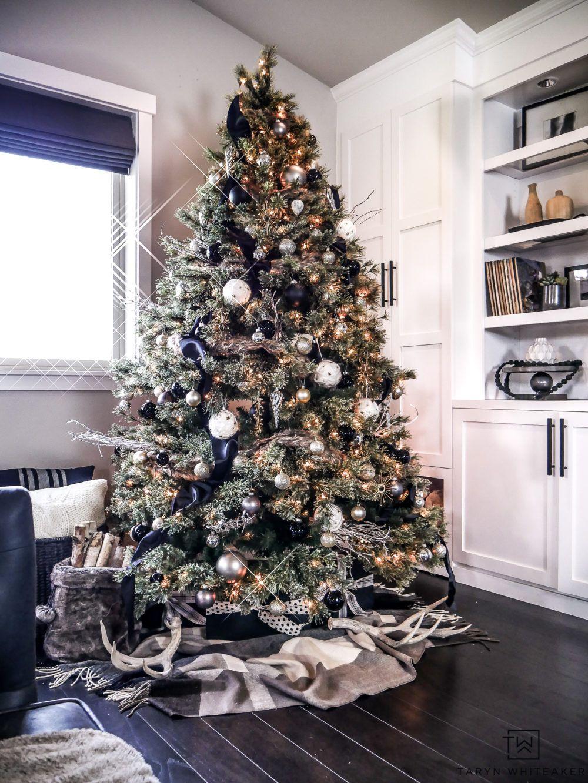 Rustic Modern Christmas Tree Taryn Whiteaker Modern Christmas Tree Christmas Decorations Living Room Modern Christmas