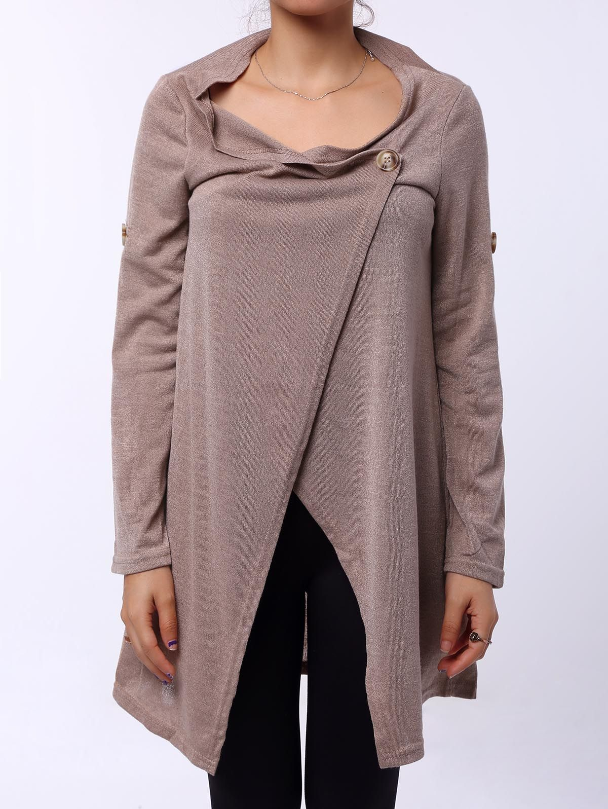 Elegant Cowl Neck Solid Color Slit Asymmetric Pullover Sweater For ...