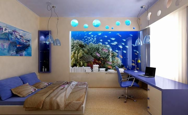 Modern Teen Boy Bedroom Interior With Wall Aquarium Designs