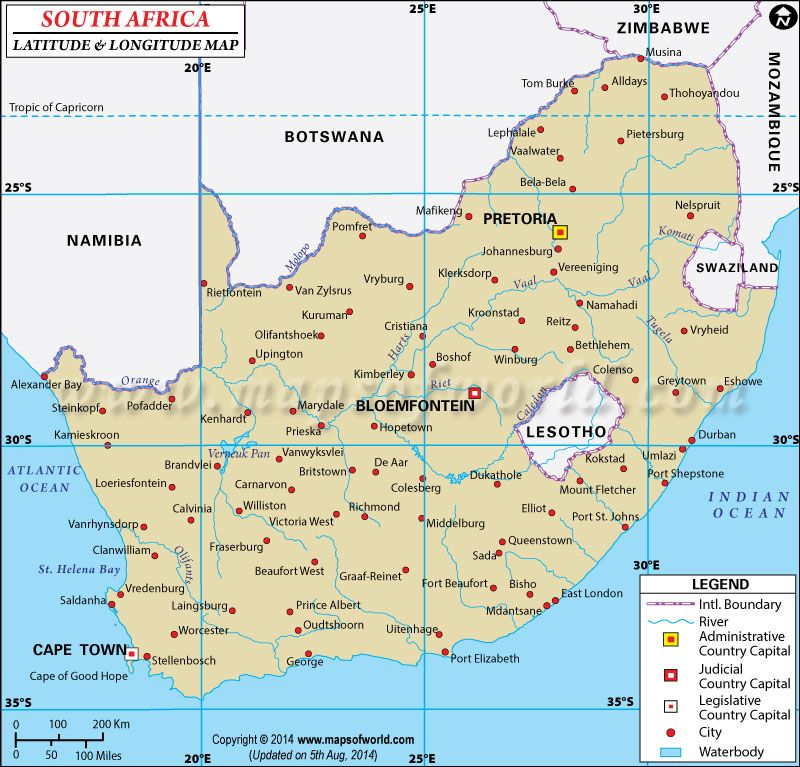 South Africa Latitude and Longitude Map | Work | Latitude