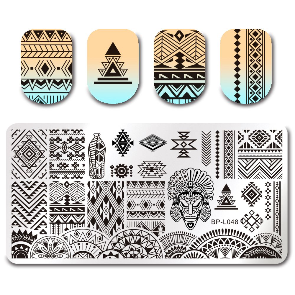 Geometric Reverse Stamping Nail Art Born Pretty Review: BORN PRETTY Rectangle Stamping Plate Ethnic Design Nail
