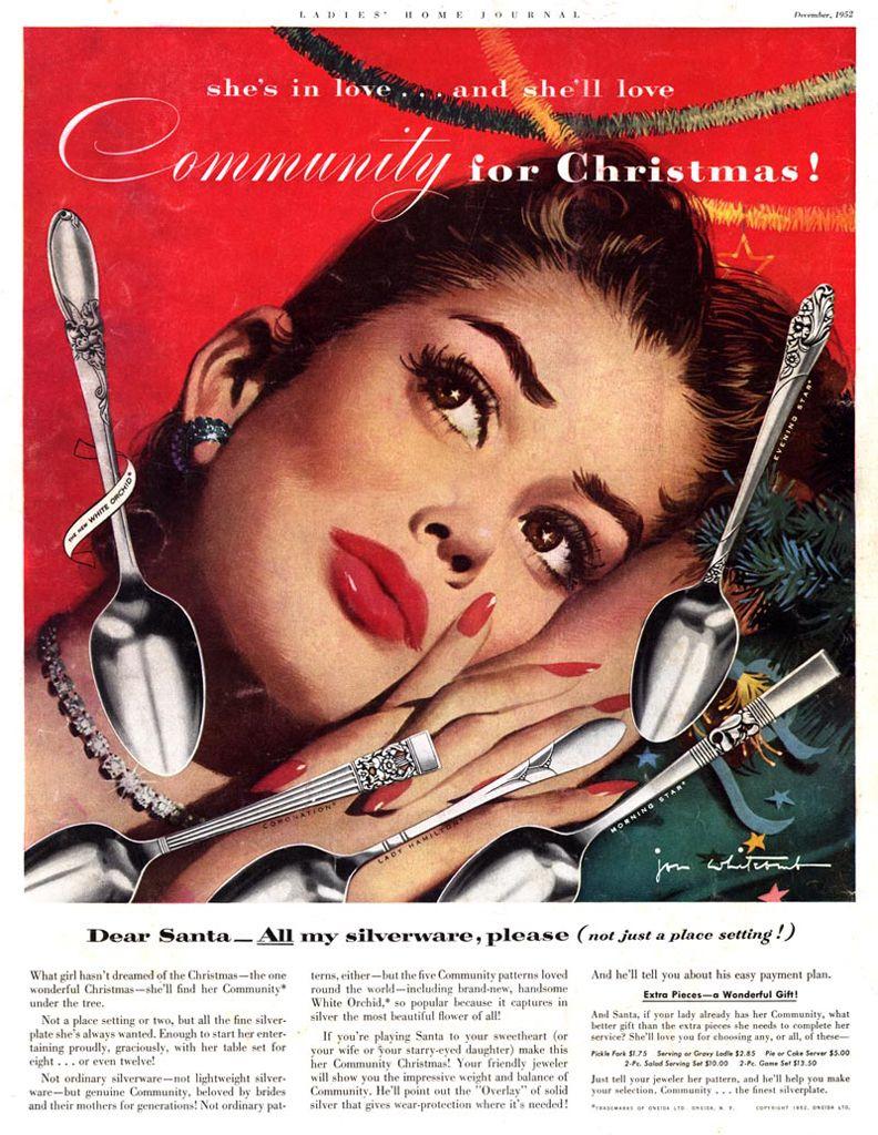 Fine Original Print Ad 1950 Community Silverplate Jon Whitcomb Artwork Christmas Collectibles Advertising-print