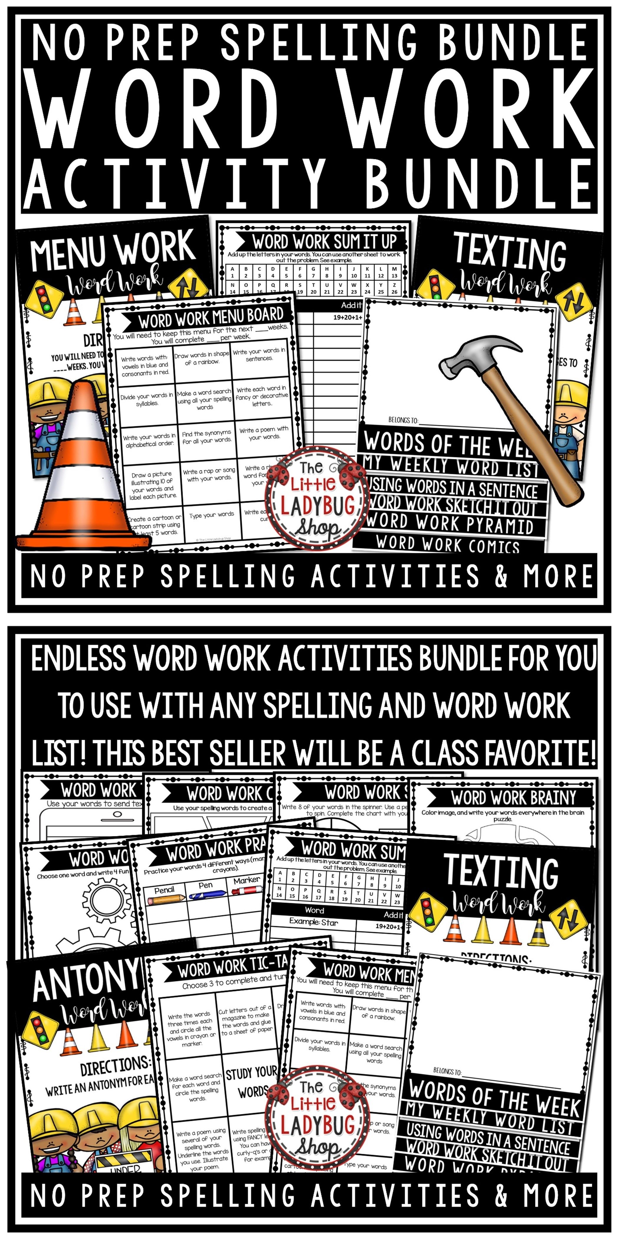 Word Work Activities Amp Spelling Activity Any List Words