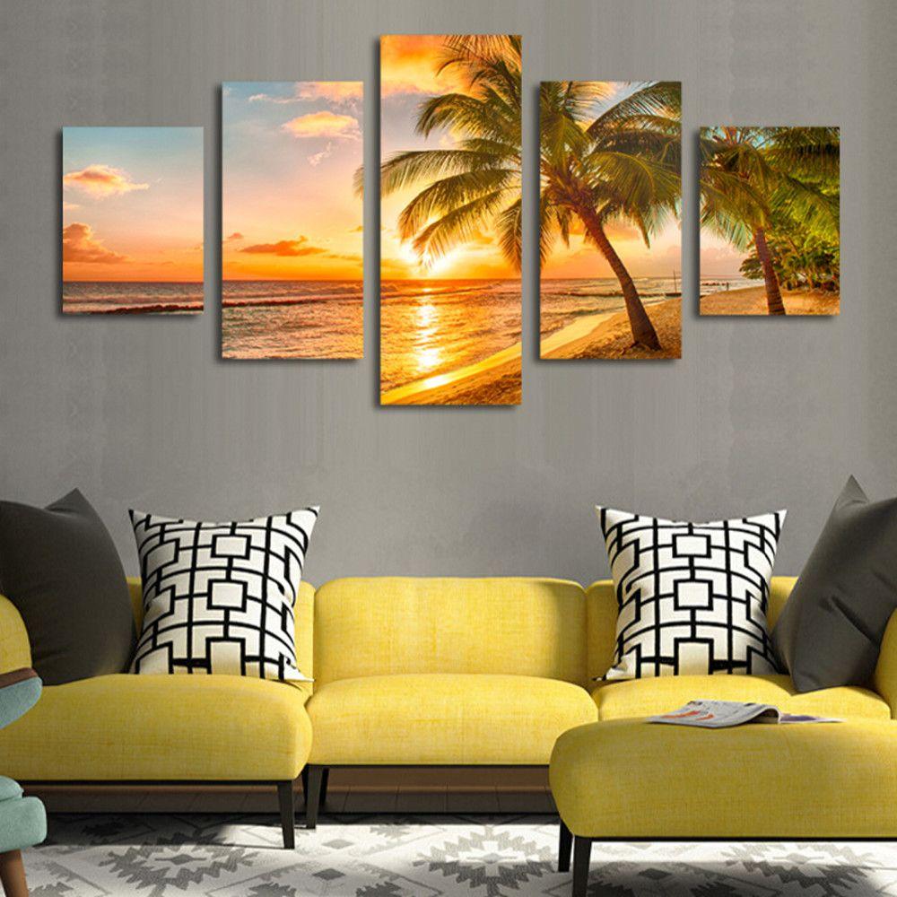 Five plate household adornment sea coconut palm beach wall art ...