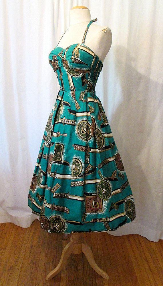 1950's Tiki Print Pool Party Dress