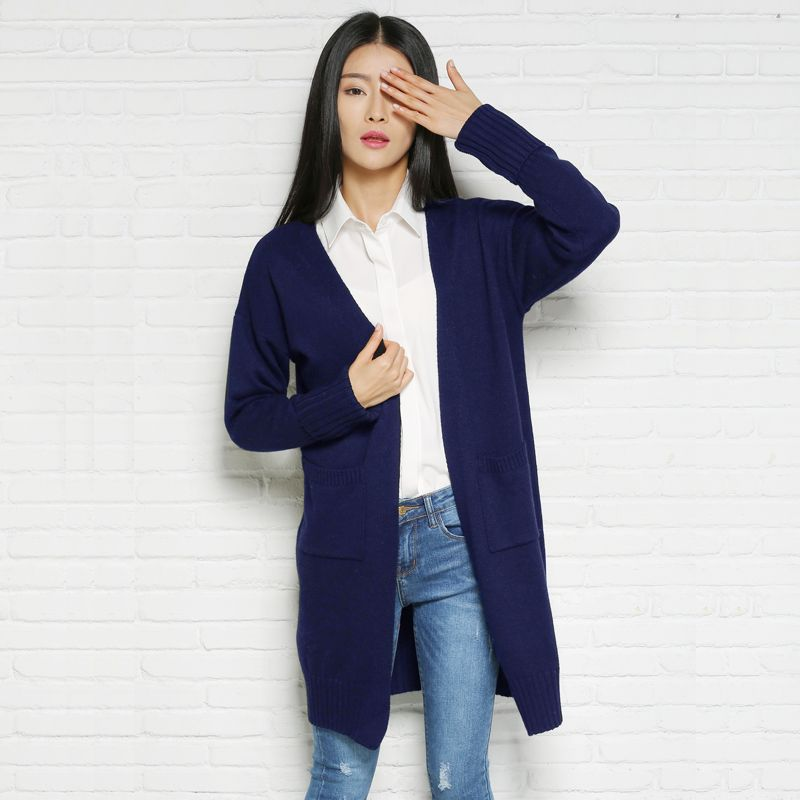 004cb31603 Spring Fashion V Neck Women Long Sweater Cardigan Fall High quality Black  And Pink Long Sleeve Oversize Wool Knitted Tops