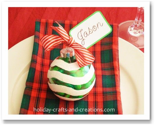 Christmas Place Cards Clear Ornaments Filled With Candy And Painted - Place card setting template