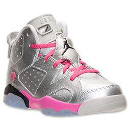 Girls' Preschool Air Jordan Retro 6 Basketball Shoes | FinishLine.com | Metallic  Silver