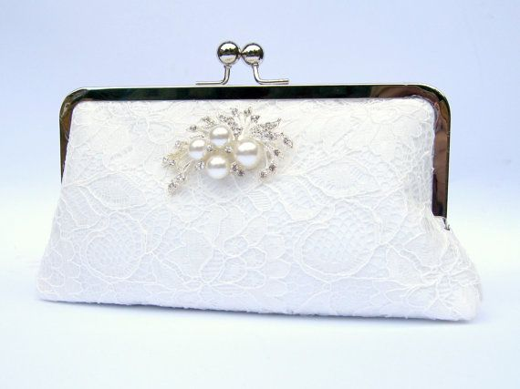 Ivory Lace Bridal Clutch Uk Wedding Purse Diamante And Pearl Brooch Rhinestone