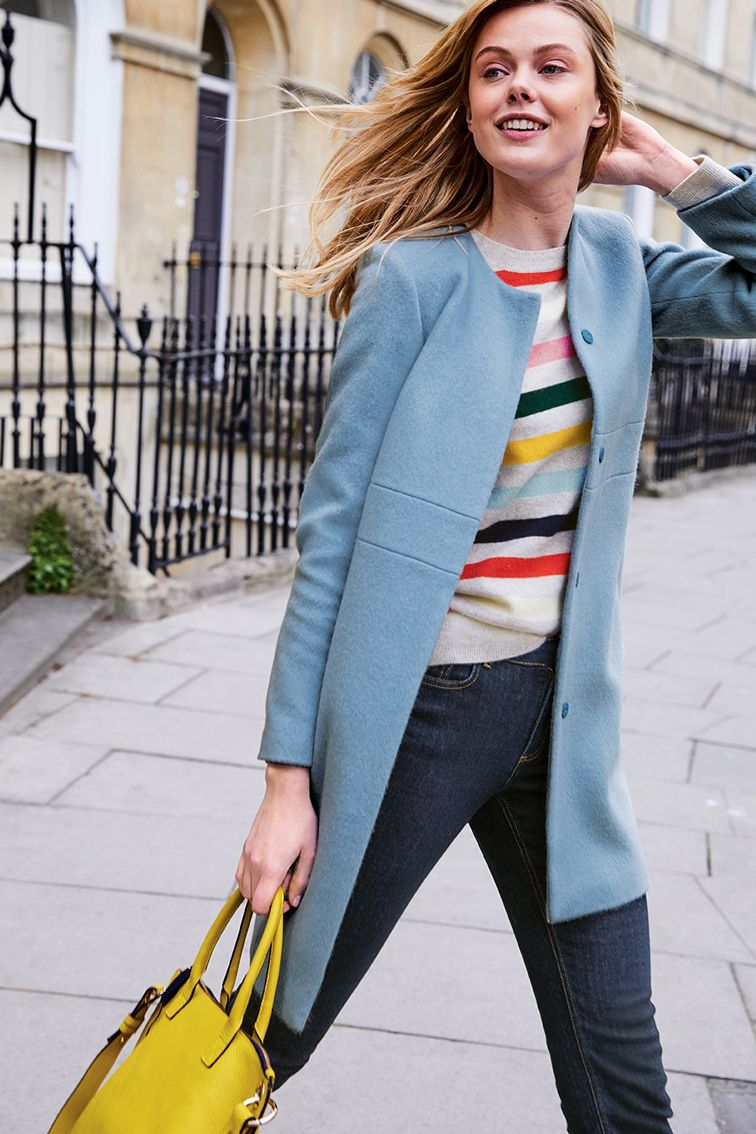 db7cb0cb8a2c Don't compromise on cool when the temperature drops – make a bold statement  with this collarless fitted coat. Throw it on over your favourite jeans to  ...