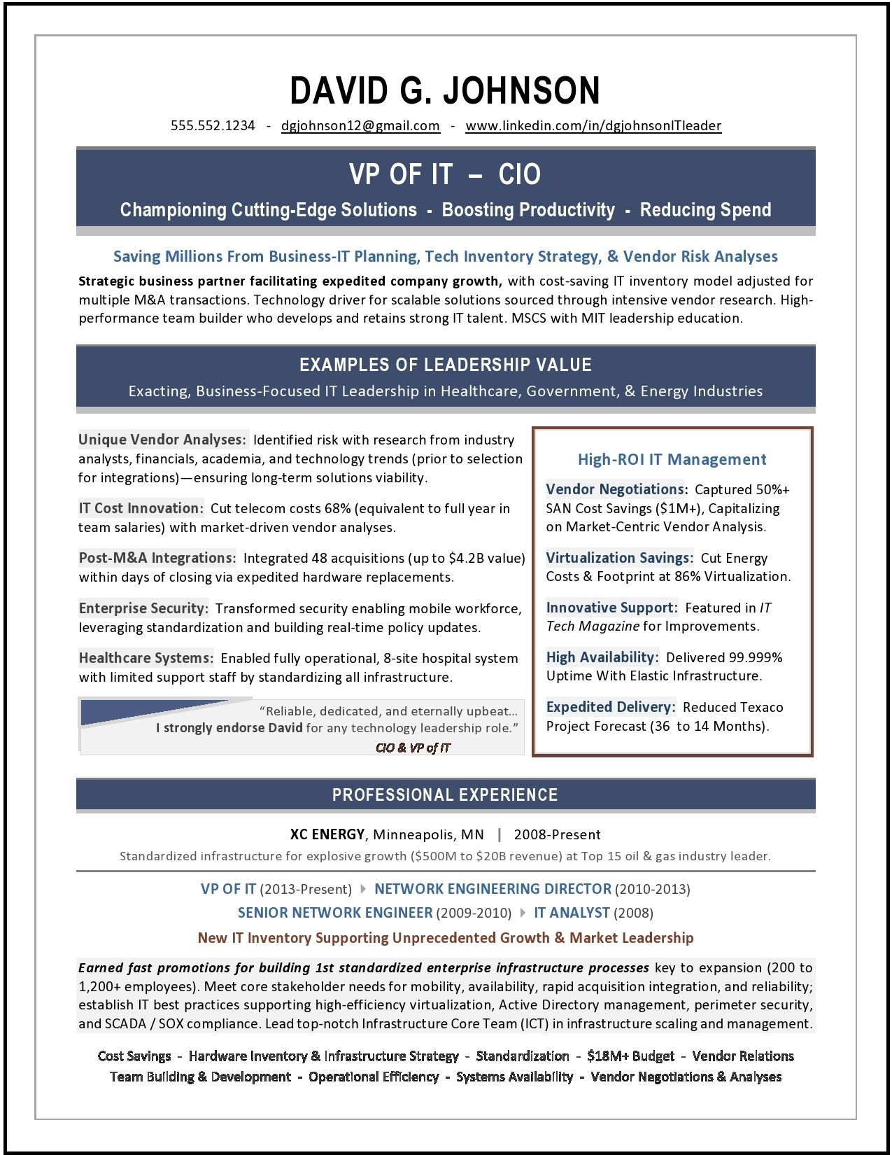 Sample Vp Of It Resume Award Winning Resume Writer For It And Engineering Resumes Executive Resume Resume Writing Resume Writing Services