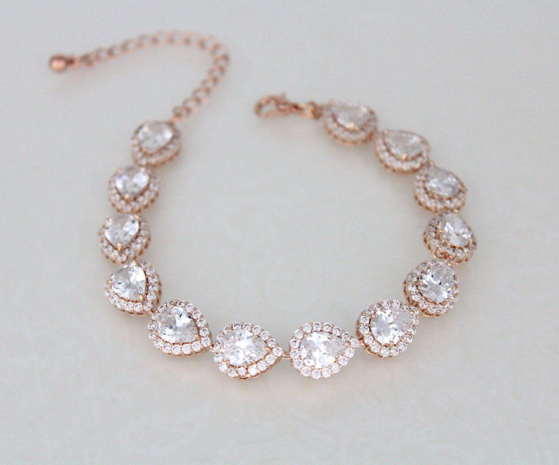 Rose gold bracelet bridal bracelet crystal bracelet wedding