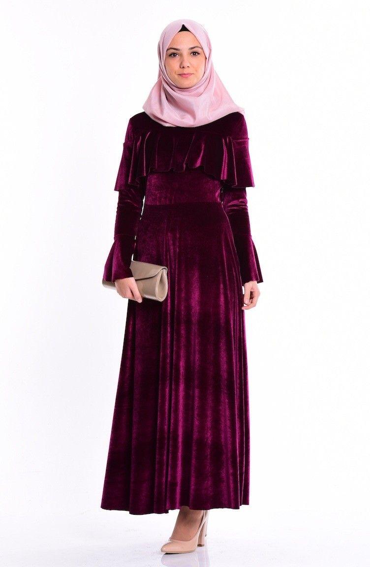Sefamerve Tesettur Kadife Elbise Modelleri Moda Tesettur Giyim Elbise Modelleri Elbise Moda Stilleri