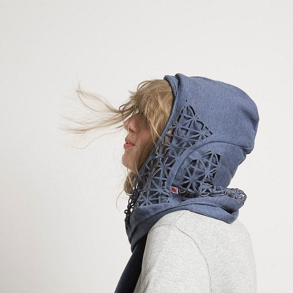 HOODED SCARF CUTOUT unisex Aha by Petschen on Etsy, €39.95