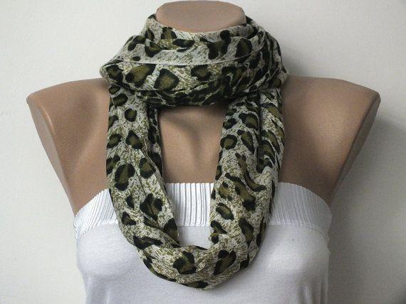 Pashmina Scarf  Leopard Print Scarf  Green Grey  by cocoshwoman, $20.00