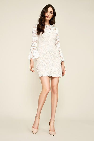 58d4028121d6 Presented by David's Bridal. This short sheath dress is a lovely choice for  a casual