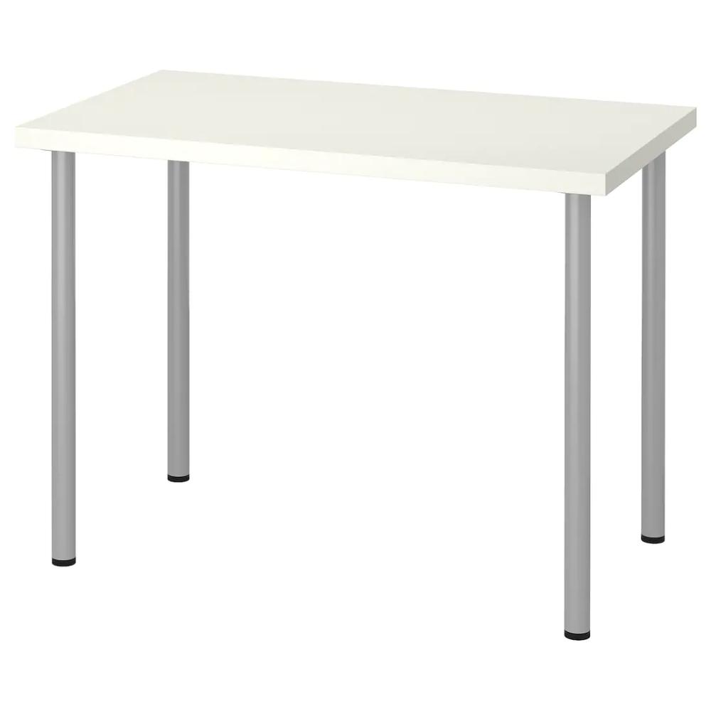 Linnmon Adils Table White Silver Color 39 3 8x23 5 8 Ikea Ikea Table Kallax Shelf