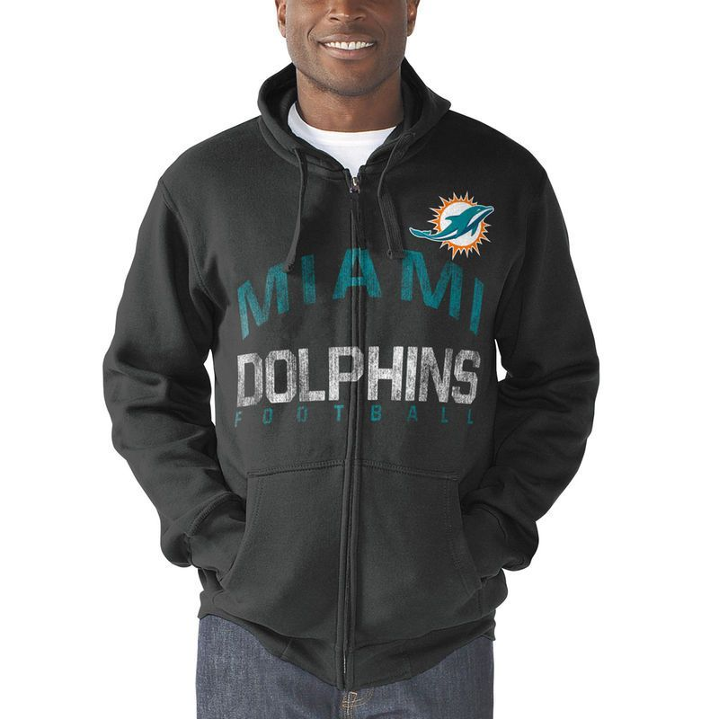 Miami Dolphins G-III Sports by Carl Banks Post Season Full-Zip Hooded  Sweatshirt - Charcoal 819e7c9a6