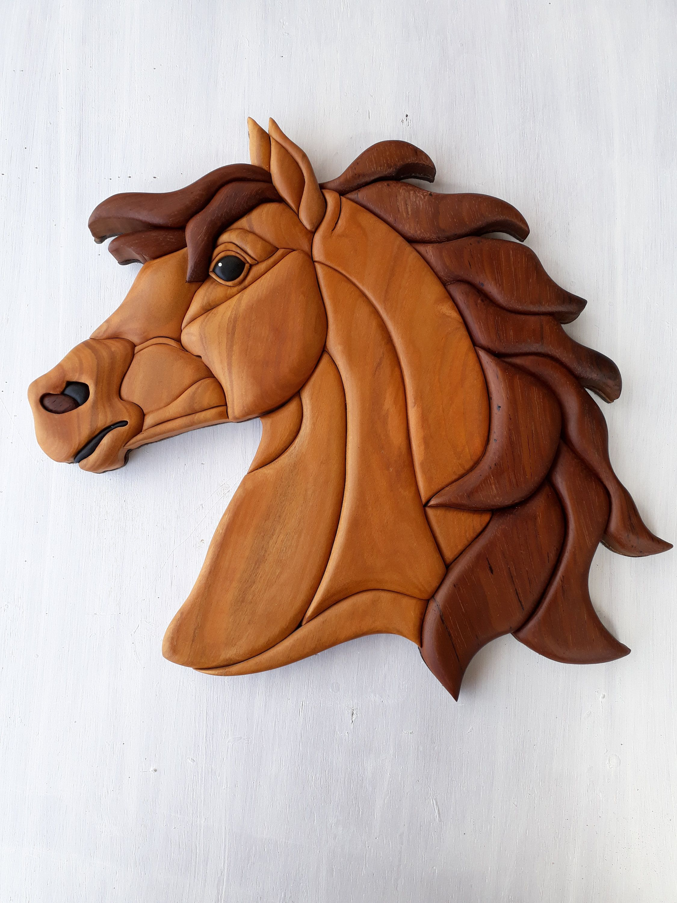 Intarsia Horse Express Shipping Wall Decor Horse Intarsia Wooden Art