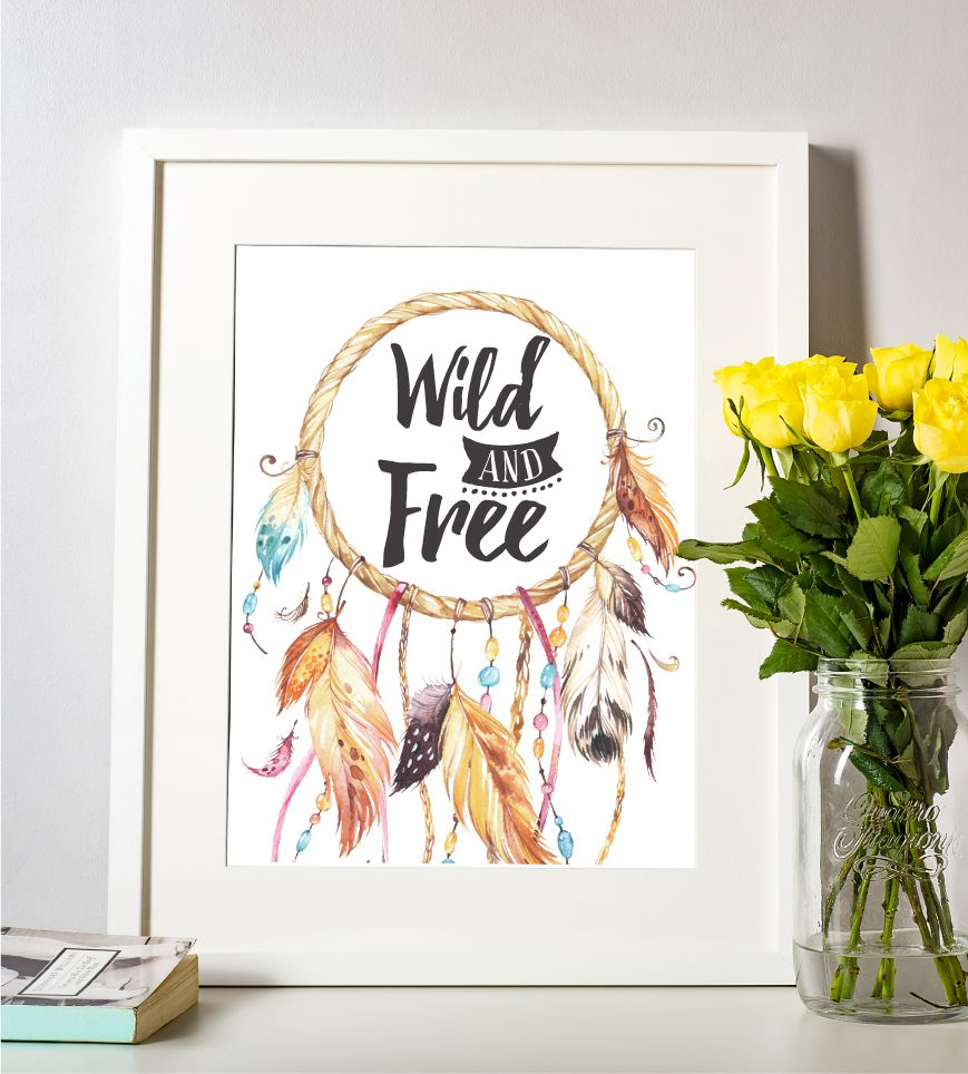 Dreamcatcher Wall Art nursery wall art print, wild and free printable quote, boho wall