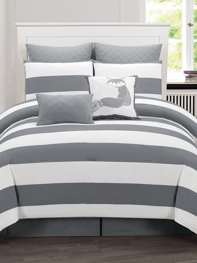Delia Stripe Printed Comforter Set (7 PC) from Bedroom Updates on a Budget on Gilt