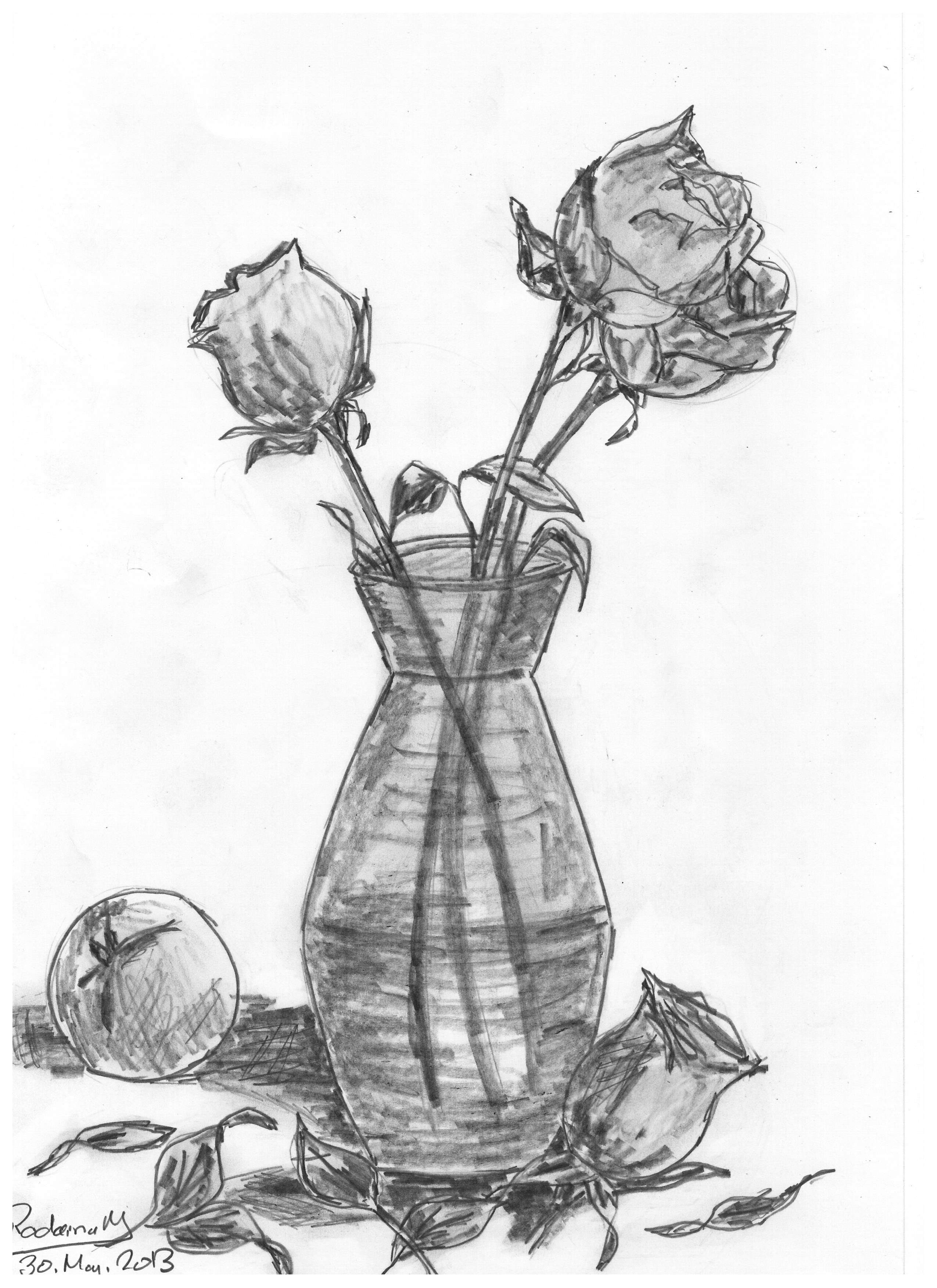 Vase With Roses Drawn In 2013 Vase Flowers Roses Pencil