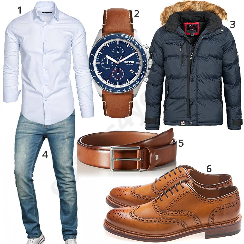 sports shoes 14df3 e9d1c Business-Look mit weißem Hemd und dicker Steppjacke | for ...