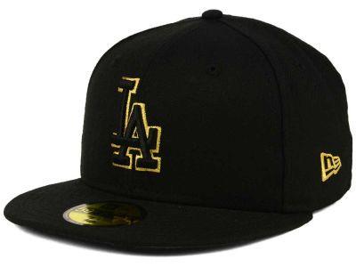 innovative design 0c16b 0c2ef Los Angeles Dodgers New Era MLB Black On Metallic Gold 59FIFTY Cap