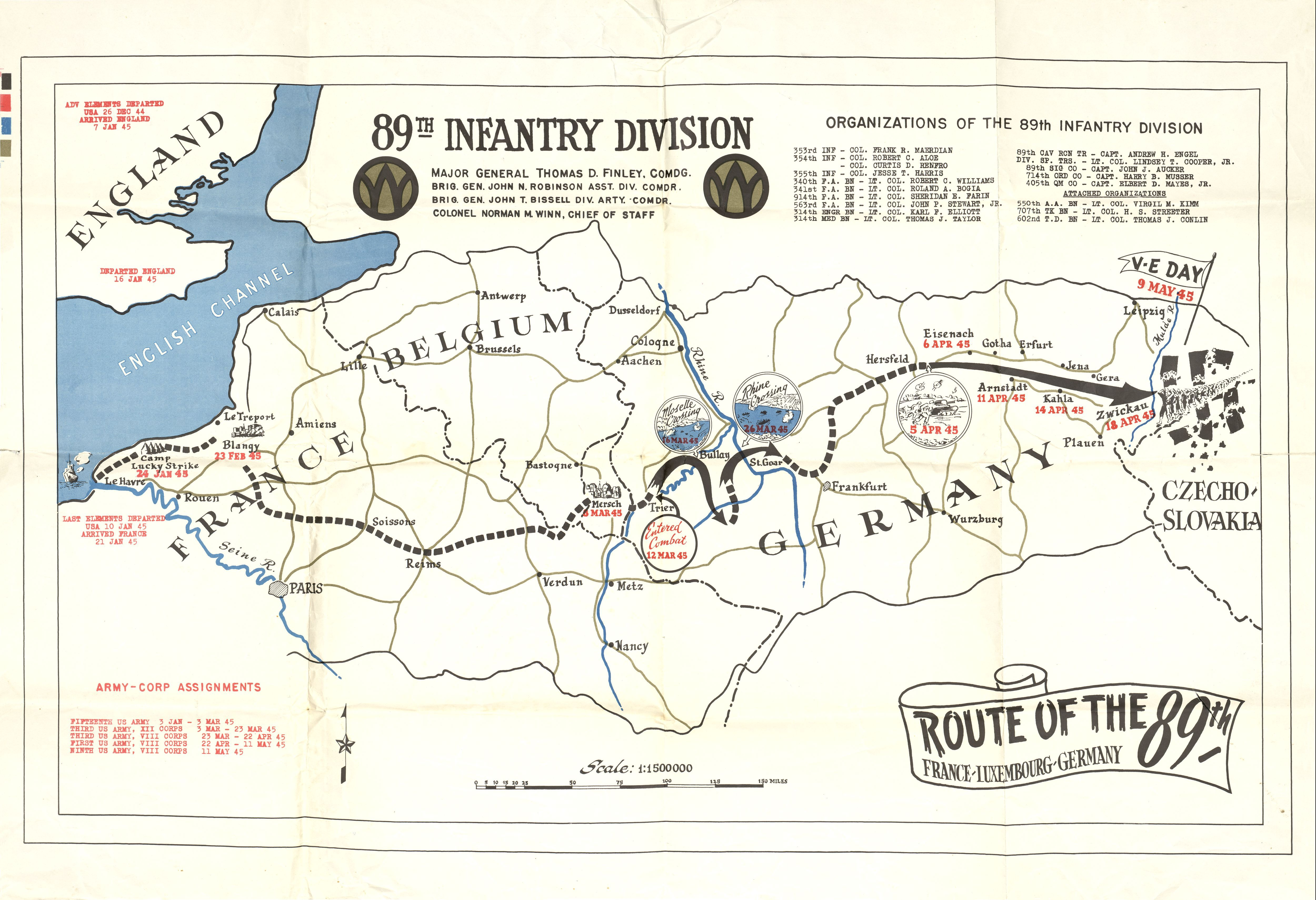 Th Infantry Division Of The US Army Rolling W Route And - Us ww2 map