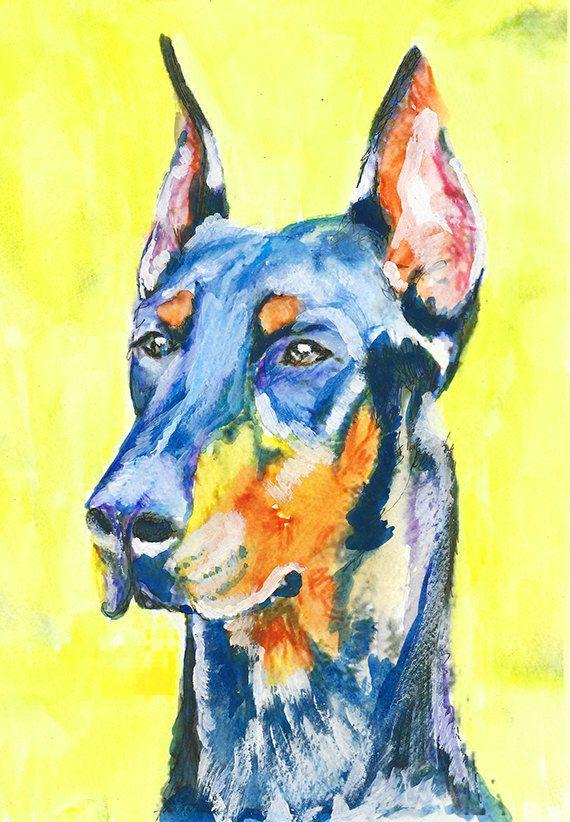 Doberman Painting wall art Print, Dobie gift idea, Dog watercolor ...