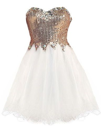 Engagement Ring Dress: Features a jewel-encrusted sweetheart neckline with padded bust for full support, sparkling gold sequin bodice with zig-zag accent around the waist, centered rear zip closure for the perfect fit, and a gorgeous flared A-line skirt to finish.