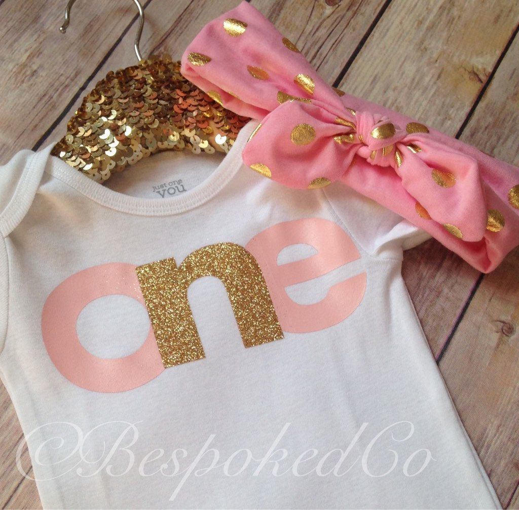 a1e548d9b887 Baby girls first birthday outfit with knotted headband/Gold One 1st  Birthday Outfit/Pink and Gold One Birthday Outfit