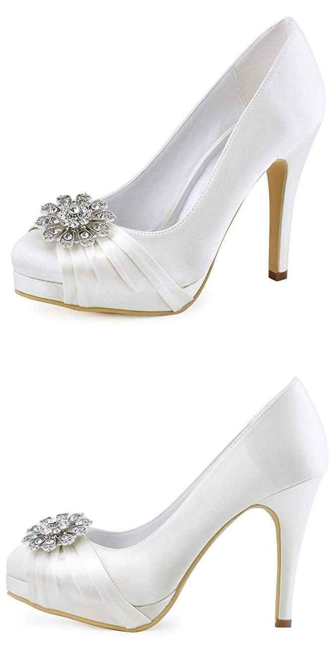 2564c26f3eb6 ElegantPark Women Pumps Closed Toe Platform High Heel Buckle Satin Evening  Party Wedding Shoes