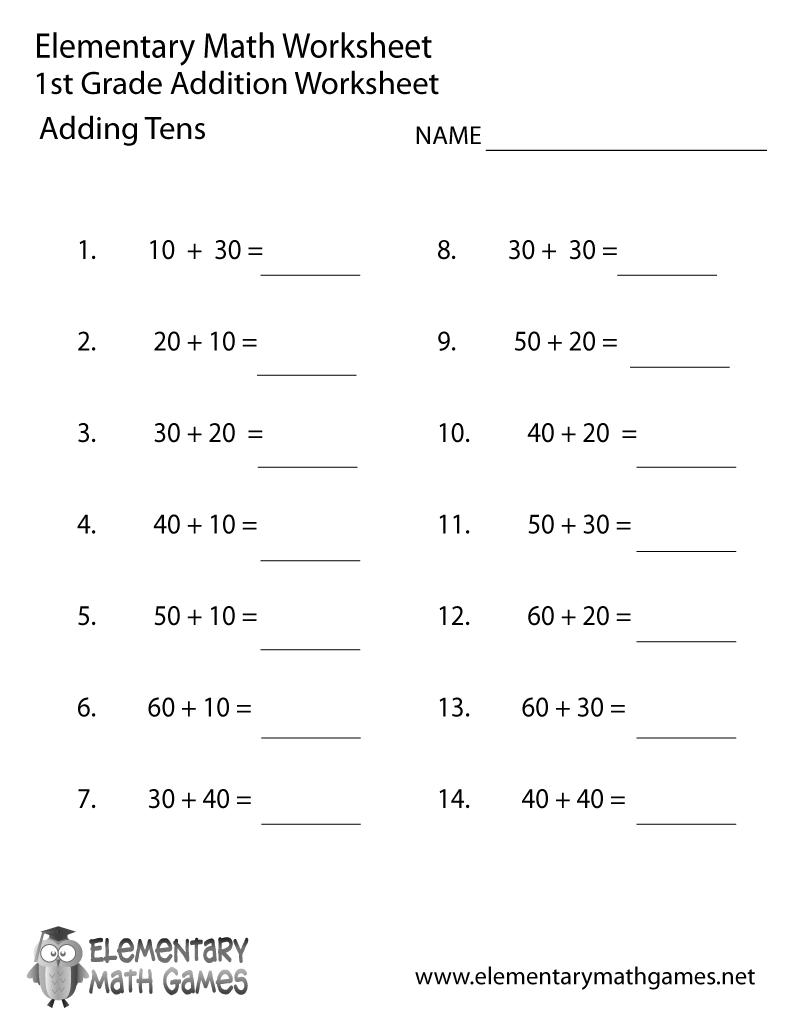First Grade Adding Tens Worksheet Printable   First grade math worksheets [ 1035 x 800 Pixel ]