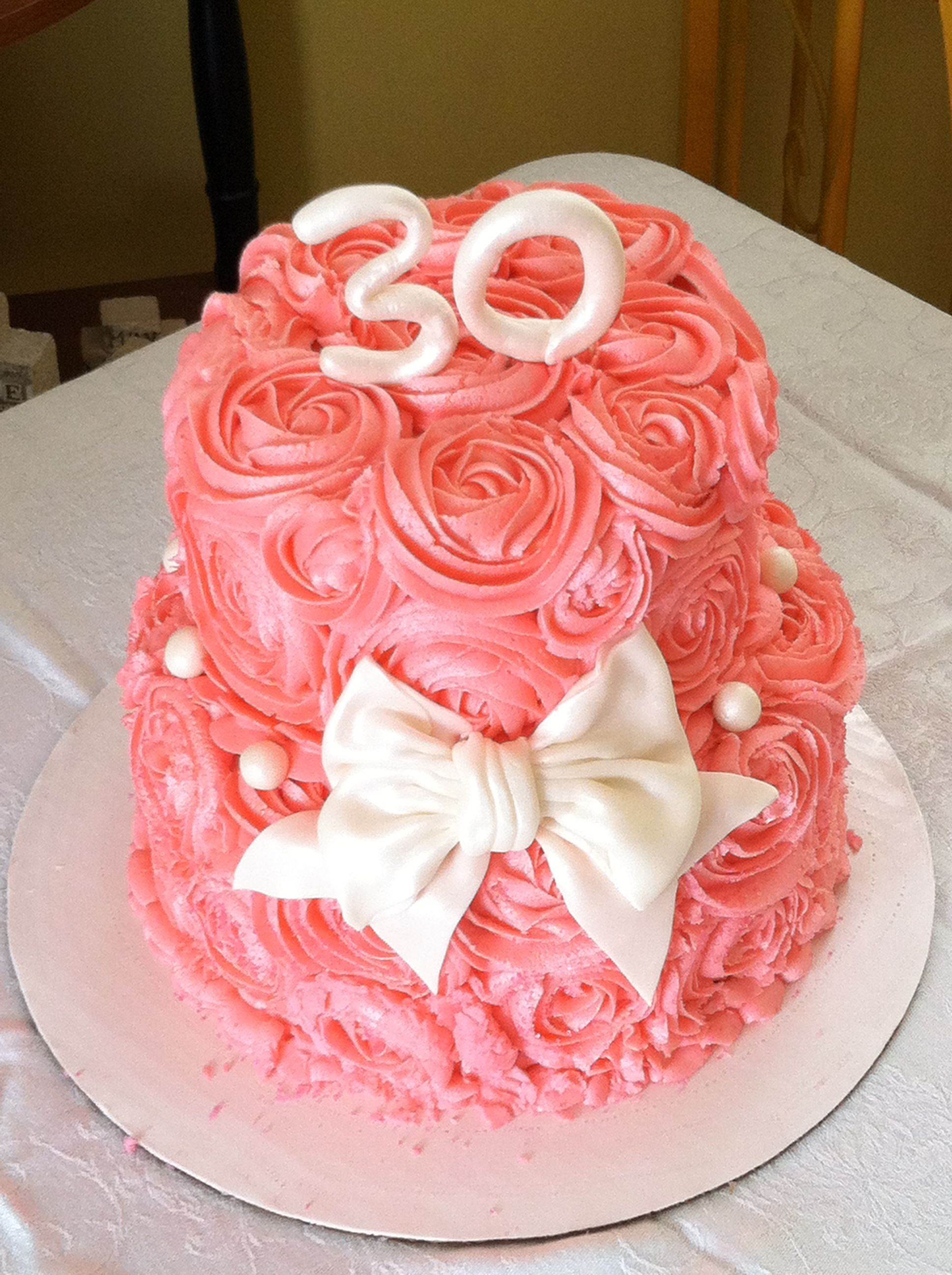 My 30th Cake From My Hubby Pink Flower Cake Cakes Pinterest