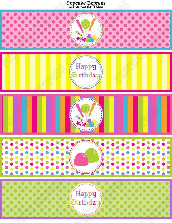 Candy Shoppe Birthday Party Printable Water Bottle Labels Pink