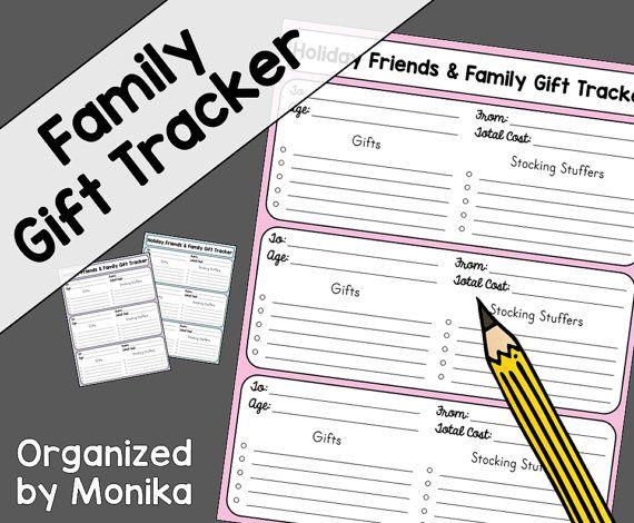 Christmas list, gift list, gift list template, gift list tracker