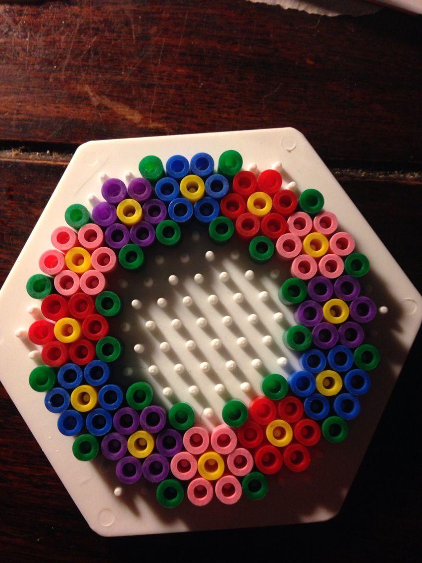 Small flower wreath hama perler beads by Dorte Marker