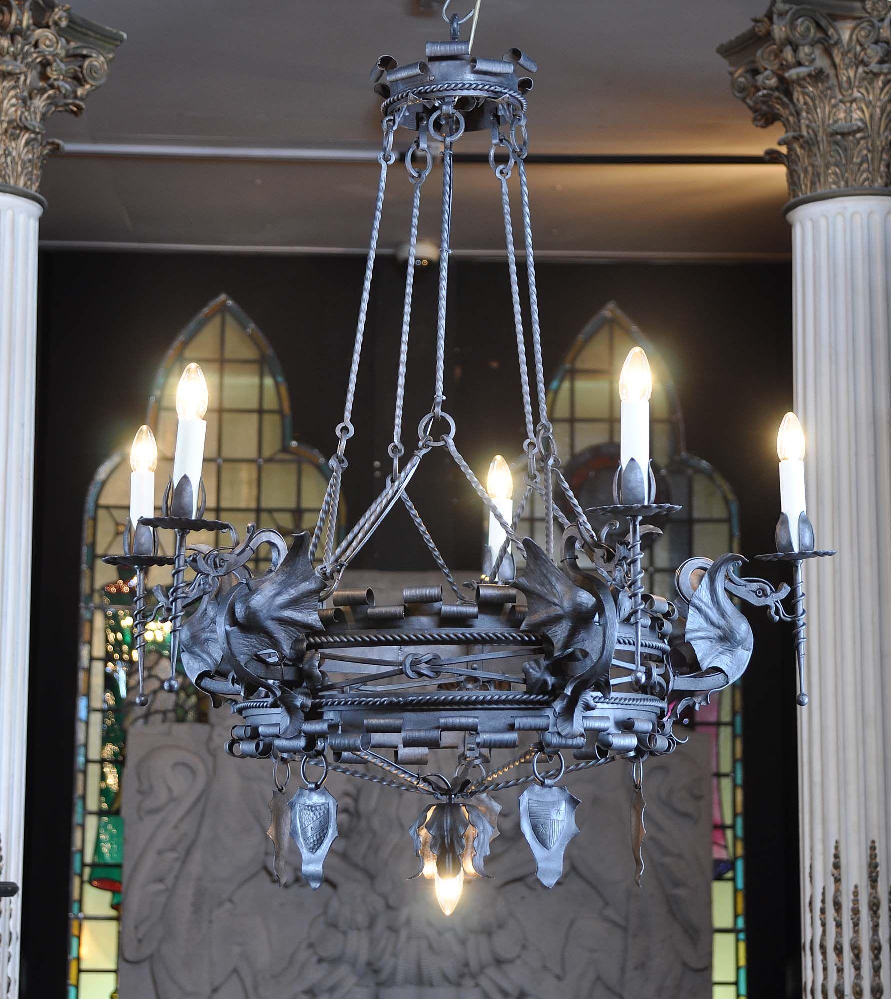 Iron mannerist dragon chandelier Люстры