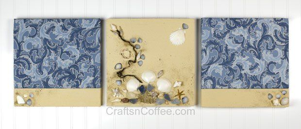 Pretty, DIY Coastal Wall Art made with fabric and a textured coating ...