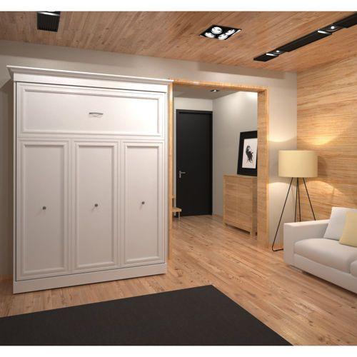Best Bestar Queen Wall Bed In White Murphy Bed Modern Murphy 400 x 300