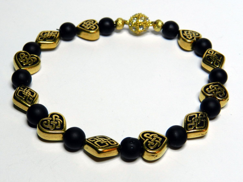 Valentines Day Bracelet-Gold Tone Celtic Heart Puffed Beads-Black Matte Beads by rosaliascharm on Etsy