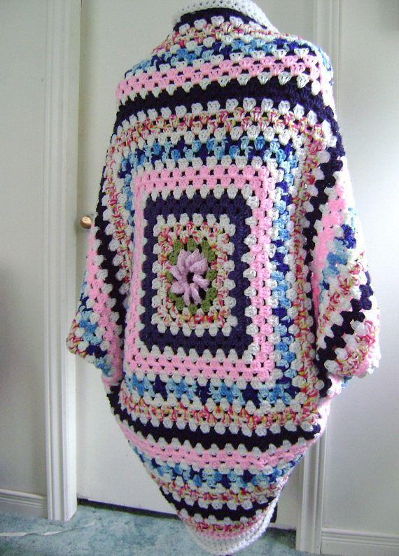 Crochet Granny Square Cocoon Sweater Cardigan Shrug in White has ...