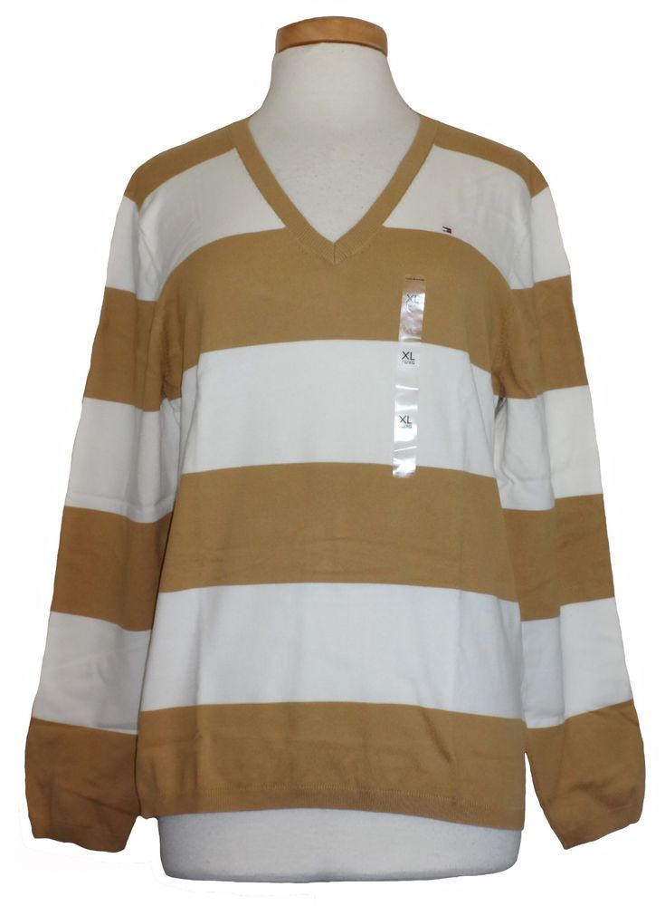 f9f5733f88 Tommy Hilfiger Womens Sweater Rugby Stripe V-Neck Snow White Tan XL NEW   59.50  TommyHilfiger  VNeck