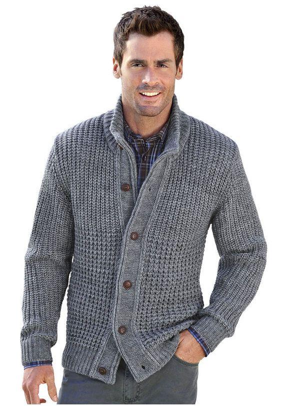 Men's hand knitted cardigan turtleneck sweater cardigan ...
