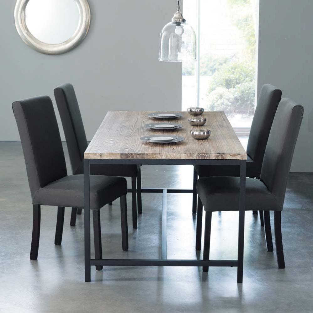 Table à manger indus en sapin et métal 8 personnes L178 ...